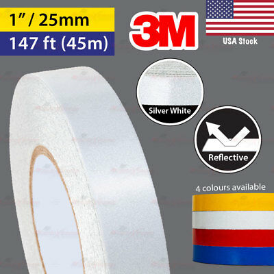 """3M SILVER WHITE 1"""" 147ft 25mm 45m REFLECTIVE Conspicuity Tape Car Decal Sticker"""