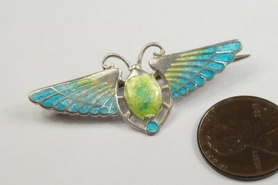 ANTIQUE ENGLISH SILVER ENAMEL EGYPTIAN REVIVAL WINGED SCARAB PIN c1918 C HORNER