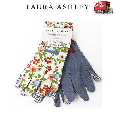 Laura Ashley 2 x Pairs Soft Cotton Garden Gloves Caravan Daisy Twinpack Medium