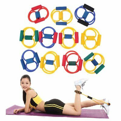 Resistance Band Yoga Pilates Abs Exercise Stretch Fitness Tube Workout Ban ES