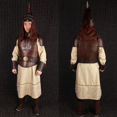 China Ancient Mongolia Emperor real leather helmet and armor clothes