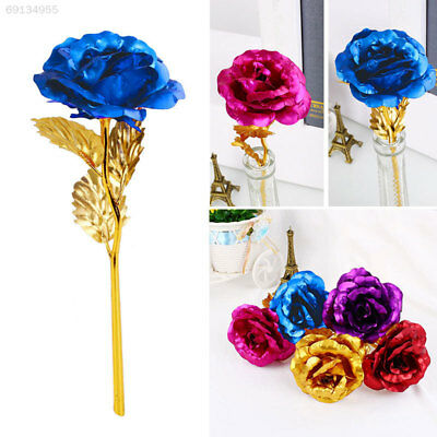 Valentine's Day 24K Gold Plated Golden Rose Flower Gifts Wedding Party Decor