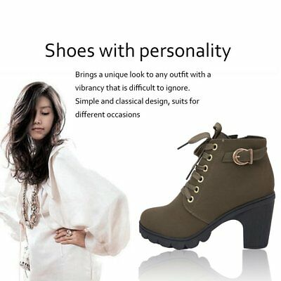 Fashion Women High Heel Lace Up Side Zipper Buckle Ankle Boots Suede Sho ES