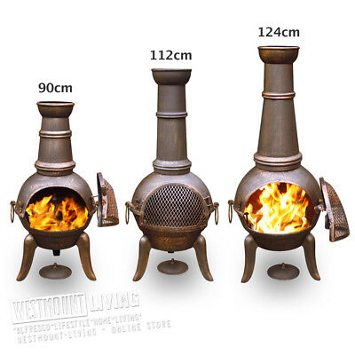 Large Cast Iron Garden Chiminea Chimnea Chiminea Patio Heater Fire Pit - 3 Sizes