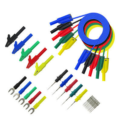 5pcs 4mm Banana Plug to Test Hook Clip For Multimeter Test Lead Cable 1.1M