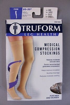 Truform Women's Leg Health Medical Compression Stockings AN3 Beige Large NWT