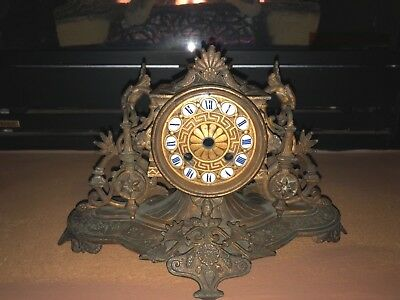 Antique Victorian Metal Gilt ornate  Mantle Clock  Case