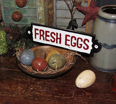 Primitive Antique Vtg Style Barn Yard Chicken Farm Fresh Eggs Metal Tin Sign
