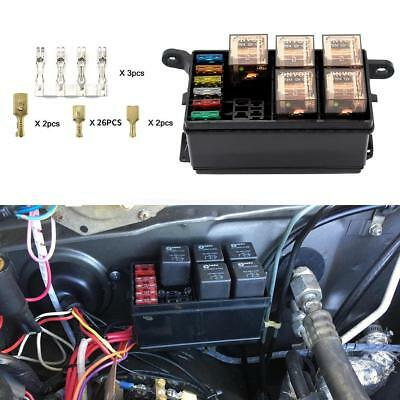 DC 12V Car Marine Boat 6-Way Relay+ 6-Slot ATO/ATC Blade Fuse Holder Box Block