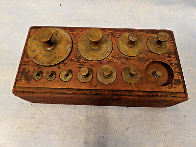 Antique Brass Scale Balance Weights Set Of 10 In Wood Case 2 Kilos To 10 Grams