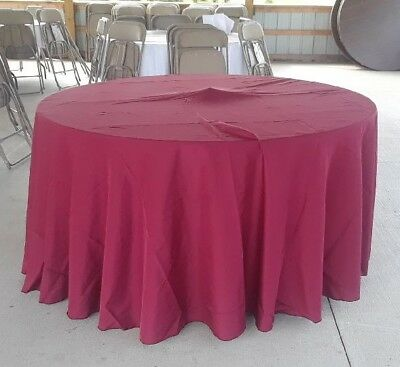 LinenTablecloth 120 in. Round Polyester Burgundy Tablecloths