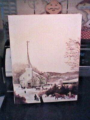 Lovely vintage church Christmas Oil Painting Old Homestead Good Old Days