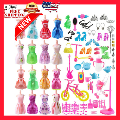 Total 120pcs Barbie Doll Clothes Set - 20 Pack Clothes Party Gown Outfits new
