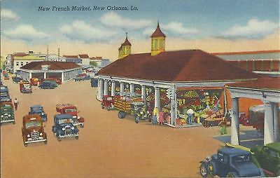 Old Vintage French Market In New Orleans Louisiana Linen Postcard