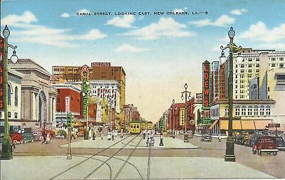 Old Vintage Canal Street Looking East In New Orleans Louisiana Linen Postcard