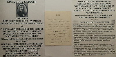 1st DEAN PROFESSOR HOME SCIENCE WOMENS EDUC UNIVERSITY MA AMHERST LETTER SIGNED!