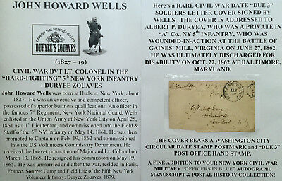 CIVIL WAR LT COLONEL 5th NY INFANTRY DURYEE ZOUAVES SIGNED SOLDIERS LETTER COVER