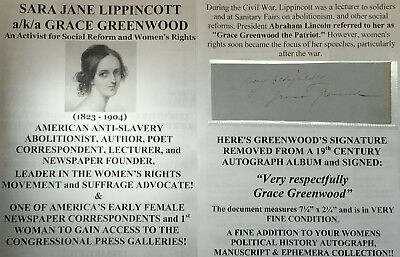 Civil War Slavery Abolitionist Womens Suffrage Leader Author Autograph Signed Vf