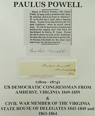 Civil War House Of Delegates Us Congressman Amherst Virginia Autograph Signed Vf