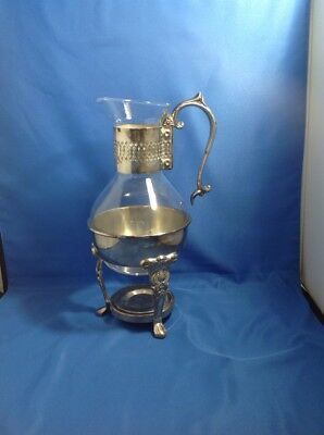 Sherioan Silver Plated Glass Carafe Pitcher Coffee Tea w Base for Candle