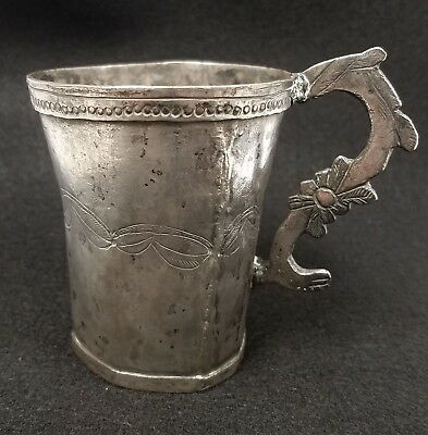 Antique 17th c. Peru Spanish Colonial Silver Two-Handled Engraved Cup