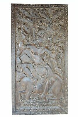 Vintage Barn Door Panel Hand Carved Shiva on Nandi Solid Wood CLEARANCE SALE