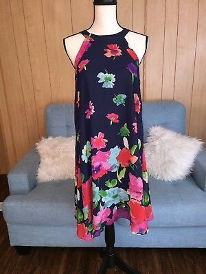 BLACK FLORAL DRESS Size 0 Betsey Johnson Halter Top -  30.00  c6a545f3d