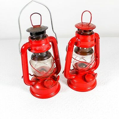 Vintage Chinese Oil Lanterns Small Red Lot of 2