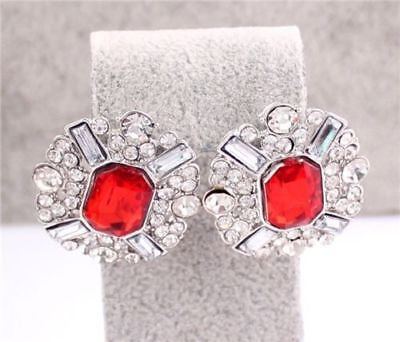 Luxury Clear Red Rhinestone Earrings Wow Usa Shipping Womens Ladies Teens Mom