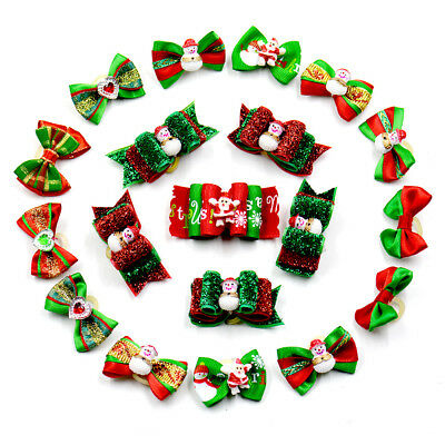 100pcs Christmas Xmas Dog Hair Bows Grooming Accessories Pet Puppy Decorations