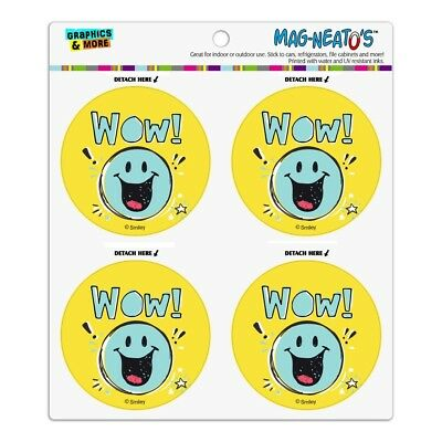 Wow Smiley Face Officially Licensed Refrigerator Fridge Circle Magnet Set