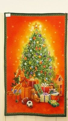 Christmas quilted panel. Handmade patchwork.Christmas tree (#42)