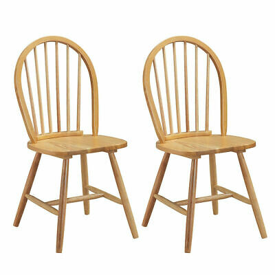 Set of 2 Vintage Windsor Dining Side Chair Wood Spindleback Kitchen Room Natural
