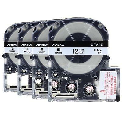 SS12KW Label Tape Black on White Compatible for Epson K-Sun LC-4WBN9 12mm 4PK