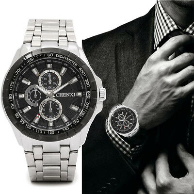 Stainless Steel Band Classic Quartz Round Analog Men's Casual Wrist Watch Metal