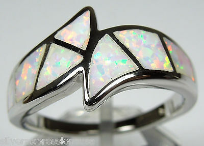 White Fire Opal Inlay Solid 925 Sterling Silver Band Ring size 7-8