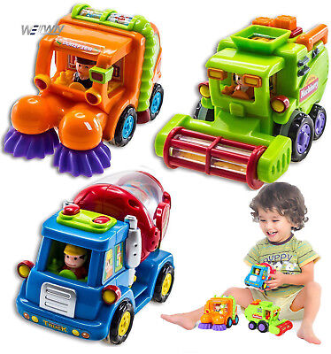 Set of 3 Push And Go Friction Powered Car Toy Kid Gift Harvester Sweeper Sweeper