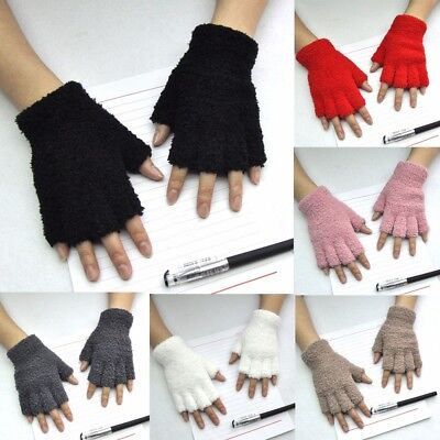 Unisex Gloves Mitten Fingerless Fleece Half-Fingers Fuzzy Adult Warm Winter NEW