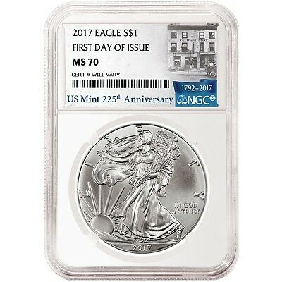 """2017 $1.Silver Eagle """"FIRST DAY ISSUE"""" NGC MS70 225th ANNIV LABEL"""
