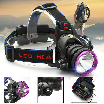 50000LM T6 LED Rechargeable Headlamp Headlight Zoomable 18650 Head Lamp Torch US