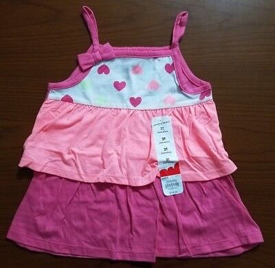 33b192531e68 New Jumping Beans Girls Tiered Baby Doll Shirt Pink Orange Hearts Sz 2T 3T  4T