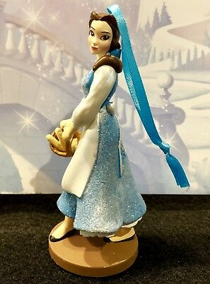 New Glitter Disney Beauty and the Beast Belle in Blue dress Christmas Ornament