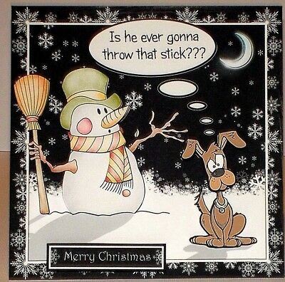 Handmade Greeting Card 3D Christmas Humorous With A Snowman And A Dog