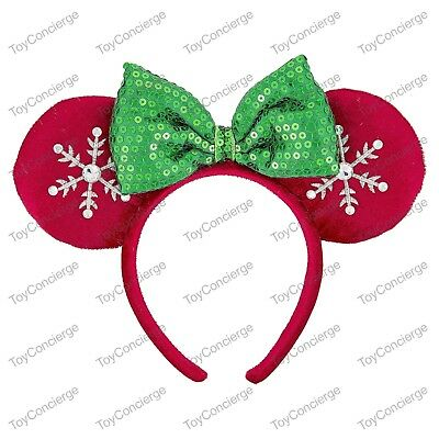 DISNEY Parks EAR HEADBAND Adult HOLIDAY SNOWFLAKE Red & Green Minnie Mouse NWT