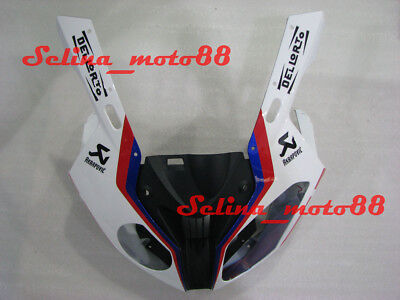 Nose Cowl Front Fairing Head Plastic For BMW S1000RR 2012 2013 2009-2014 Blu-whi