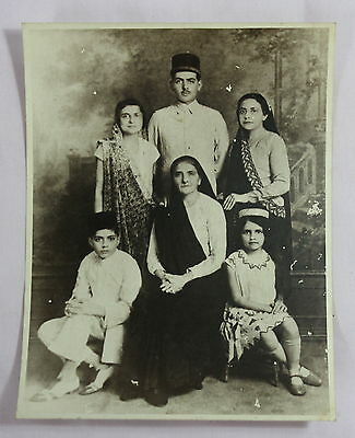 Old Vintage Black White Very Rare Indian Family Group Photograph