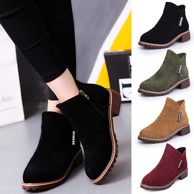 Womens Boots Winter Ankle Boots Ladies Army Combat Flat Low Heel Biker Shoes