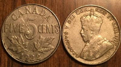 1922 Canada 5 Cents Coin G+ Buy 1 Or More Its Free Shipping!