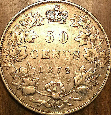 1872H CANADA SILVER 50 FIFTY CENTS - A nicer example