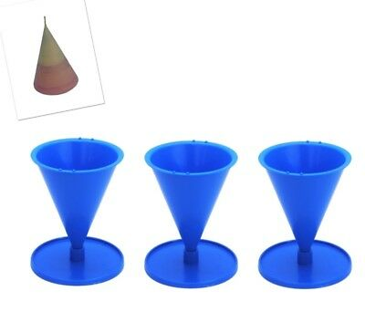 """Set of 3 Cone Shaped Candle Moulds with Base/Stand, 4.5"""" Tall, UK Made. S7640"""